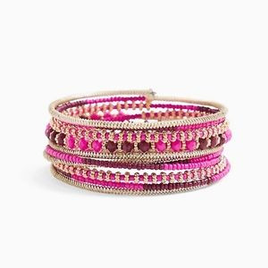 Hot Pink Beaded Coil Bracelet